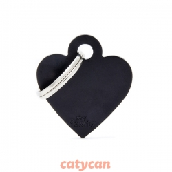 CHAPITAS IDENTIIFICATORIAS BASIC SMALL HEART ALUMINUM BLACK